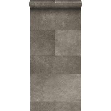 papel pintado XXL motivo de azulejos imitacion de cuero gris cálido