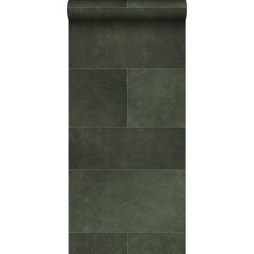 papel pintado XXL motivo de azulejos imitacion de cuero verde oscuro